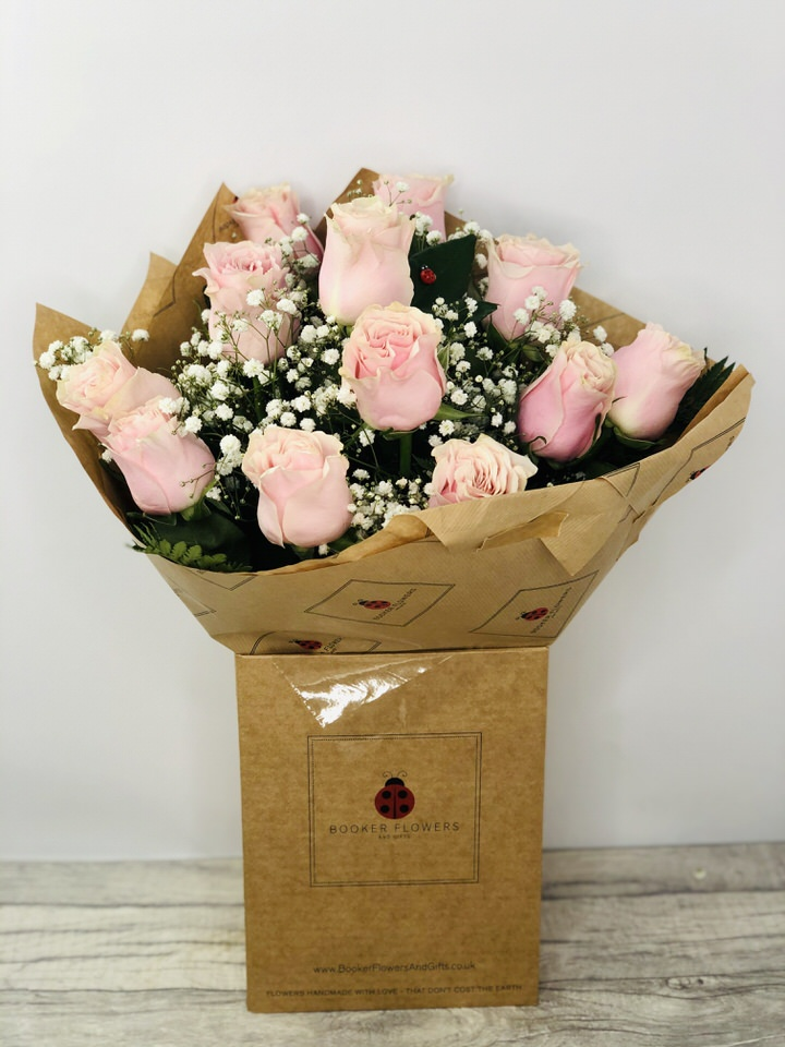 12 Pink Roses Handtied Bouquet: Booker Flowers and Gifts