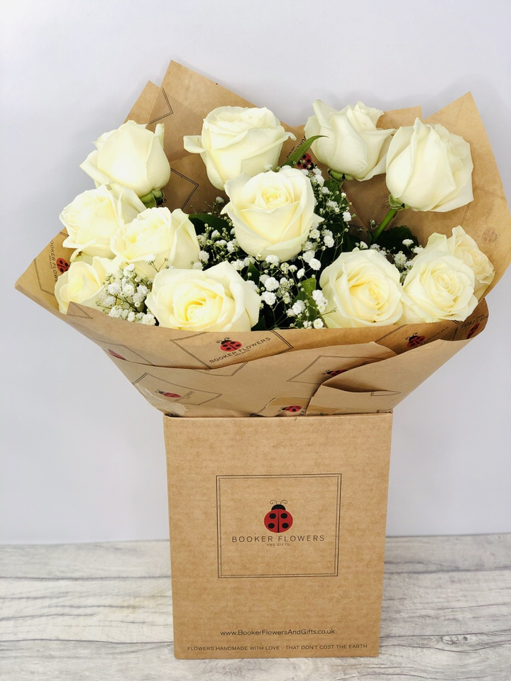 12 White Roses Handtied Bouquet: Booker Flowers and Gifts