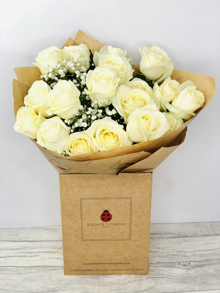18 White Roses Handtied Bouquet: Booker Flowers and Gifts