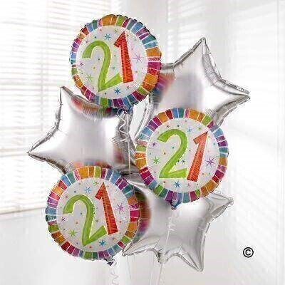 Send your 21st Birthday wishes with this fabulous balloon bouquet.Created with three 21st Birthday balloons and three star-shaped silver balloons - this helium balloon bouquet is guaranteed to bring a smile to their face!