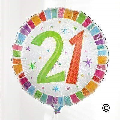 This eye-catching 21st birthday balloon is radiant with an array of metallic rainbow colours and silver sparkles andndash; just right for getting into the party mood.The circular 45cm micro-foil balloon arrives filled with helium and tied to a weight with curling ribbon.