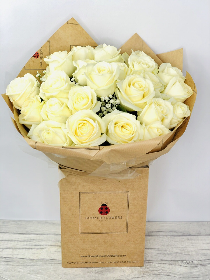 24 White Roses Handtied Bouquet: Booker Flowers and Gifts