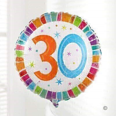 This colourful 30th birthday balloon has a brightly coloured design and a big '30!' motif on the front.<br><br>The micro-foil balloon is a 48cm square pillow shape and arrives filled with helium and tied to a weight with curling ribbon.