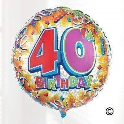 Make them feel special on their 40th with this celebratory birthday balloon. The design includes an explosion of gold and silver with streamers and a large 40th birthday motif.The circular 48cm micro-foil balloon arrives filled with helium and tied to a weight with curling ribbon.