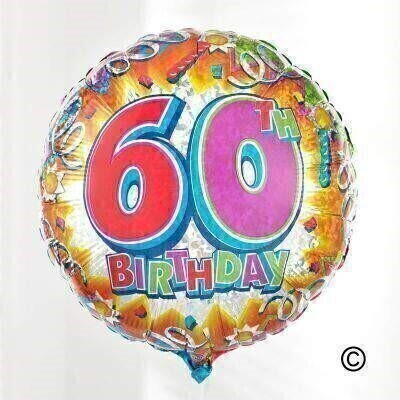 Brighten up their special birthday celebrations with this extra-special balloon. As well as a andlsquo;60th birthdayandrsquo; motif - the design includes party streamers and stars and an explosion of colour.The circular 45cm micro-foil balloon arrives filled and tied to a weight with curling ribbon.