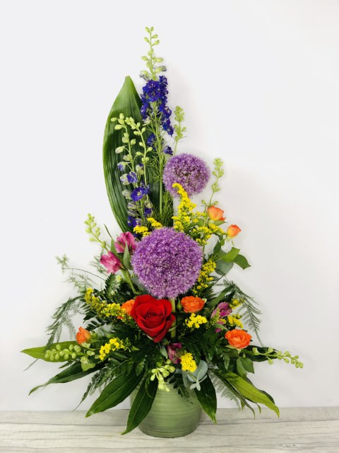 Allium and Delphinium Summer Pot Arrangement: Booker Flowers and Gifts