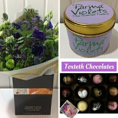 Anemone Bouquet with Toxteth Chocolates and Parma Violet Candle: Booker Flowers and Gifts