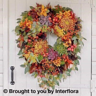 <h2>Autumn Flowers Harvest Door Wreath</h2><br><br> <h3>Liverpool Flower Delivery</h3><br><br> We offer advanced booking flower delivery same day flower delivery 3 hour Flower delivery guaranteed AM PM or Evening Flower Delivery and we are now offering Sunday Flower Delivery. .<br><br> <ul><li>Hand arranged by our florists</li><li> To give the best occasionally we may make substitutes</li><li> Our flowers backed by our 7 days freshness guarantee</li><li> Diameter 70cm </li><li> This product is available for delivery throughout the UK</li></ul><br><br> THIS ARRANGEMENT IS IN FLORAL FOAM AND COMES PRE ARRANGED IN THE CONTAINER. <br><br>.<br><br><br><br> <h3>The best florist in Liverpool</h3><br><br>Come to Booker Flowers and Gifts Liverpool for your Beautiful Flowers and Plants if you really want to spoil we also have a great range of Wines Champagne Balloons Vases and Chocolates that can be delivered with your flowers. To see the full range see our extras section. You can trust Booker Flowers and Gifts can deliver the very best for you