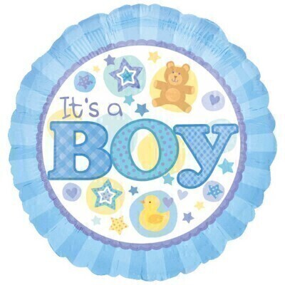THIS ITEM WILL NEED TO ACCOMPANY A FLOWER ORDER OR BE A COMBINATION OF EXTRA ITEMS TO REACH OUR MINIMUM ORDER OF 25<br><br>It's definitely smiles all round now that the new baby is here and our 'It's a boy' balloon adds an extra dash of fun to the occasion. This design features the cutest images and announces his arrival perfectly.<br><br>The 45cm micro foil balloon arrives filled with helium and tied to a weight with curling ribbon.