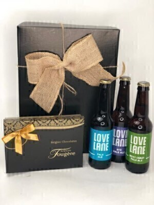 Locally Brewed Beer and Belgium Chocolates in Gift Hamper