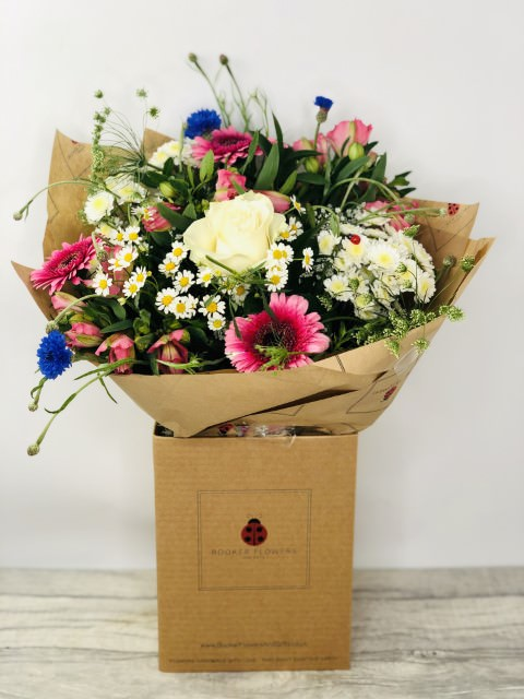 Blue Cornflowers and Pink Gerbera Summer Bouquet: Booker Flowers and Gifts
