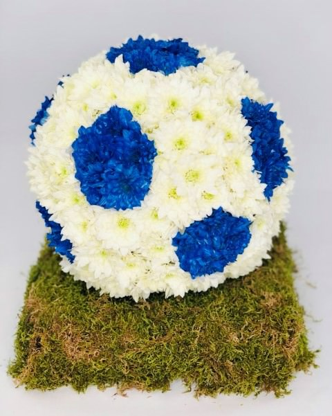 Blue and White Football Funeral Tribute: Booker Flowers and Gifts