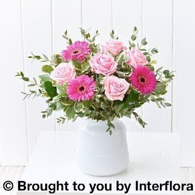 Blushing Blooms Vase: Booker Flowers and Gifts