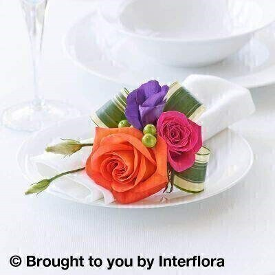 Bold and Bright Napkin Decoration: Booker Flowers and Gifts