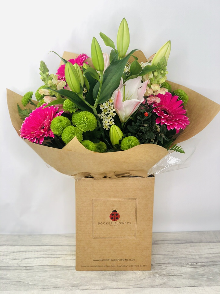 Bright Summer Flowers - Hand DeliveredHand arranged by our florists into a beautiful hand-tied bouquetTo give you the best occasionally we may make substitutesOur flowers backed by our 7 days freshness guaranteeApproximate dimensions 40cmx40cmThis product is ONLY available for delivery Liverpool areas that we would cover ourselves. So postcodes beginning with L1 L2 L3 L4 L5 L6 L7 L8 L11 L12 L13 L14 L15 L16 L17 L18 L19 L24 L25 L26 L27 L36 L70These beautiful scented flowers hand arranged by our professional florists into a handtied bouquet are a delightful choice from our new Summer collection. This bright bouquet of lilies and gerberas flowers would make the perfect gift to let someone know you are thinking of them. Featuring 2 oriental lilies 3 cerise gerberas 2 snapdragons 3 green spray chrysantheums and wax flower all hand arranged with mixed foliage into a handtied bouquet and presented in eco-friendly giftwrap and presentation box. Plus all our bouquets and plants have a small wooden ladybird hidden in somewhere so dont forget to spot the ladybird on our social media pages!Liverpool Flower DeliveryWe are open 7 days a week and offer advanced booking flower delivery same day flower delivery 3 hour Flower delivery guaranteed AM PM or Evening Flower Delivery and offer Sunday Flower Delivery.The best florist in LiverpoolCome to Booker Flowers and Gifts Liverpool for your Beautiful Flowers and Plants if you really want to spoil we also have a great range of Local Gin Wines Champagne Balloons Vases and Chocolates that can be delivered with your flowers. To see the full range see our extras section. You can trust Booker Flowers and Gifts can deliver the very best for you.