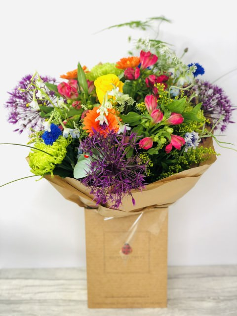 Bright Summer Rainbow Handtied Bouquet: Booker Flowers and Gifts