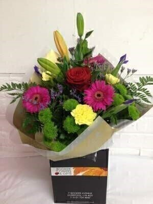 Bright and Vibrant Hand Tied Bouquet: Booker Flowers and Gifts