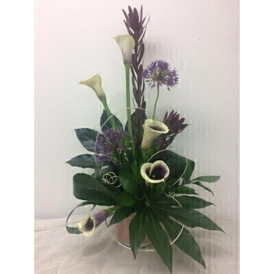 Calla Lily and Allium Flower Arrangment: Booker Flowers and Gifts