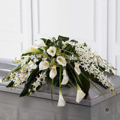 Calla Lily and Orchid Casket Spray: Booker Flowers and Gifts