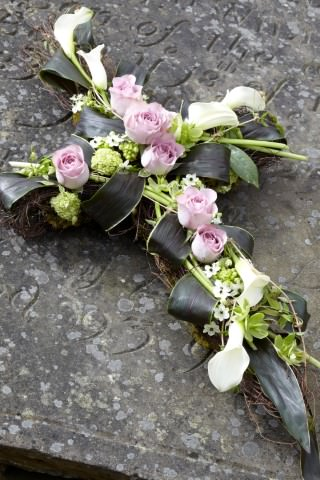 Contemporary Cross-Shaped Design | Funeral Flowers