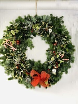 Candy Cane Christmas Door Wreath XLarge: Booker Flowers and Gifts