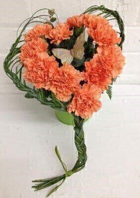 Carnation Heart Flower Arrangement: Booker Flowers and Gifts