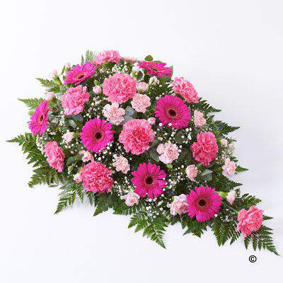 This traditional large floral spray in varying shades of pink includes bright cerise germini plus light and dark pink carnations. These fresh flowers are carefully arranged and interspersed with white gypsophila - leather leaf and eucalyptus.