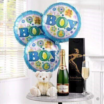 Champagne Baby Boy Balloons and Teddy Bear: Booker Flowers and Gifts