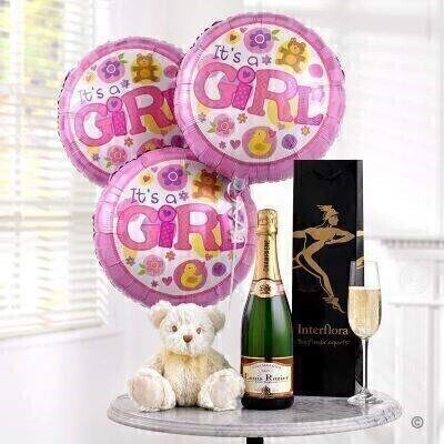 Champagne Baby Girl Balloons and Teddy Bear: Booker Flowers and Gifts