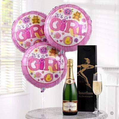 THIS PRODUCT CONTAINS ALCOHOL AND AS SUCH SHOULD ONLY BE BOUGHT FOR SOMEONE OVER THE AGE OF 18 This celebratory gift of champagne and balloons is the perfect way to send your congratulations. We ve chosen a wonderfully fresh and sparkly Louis Rozier Champagne that will fit the occasion and three helium filled baby girl balloons.