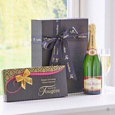 THIS PRODUCT CONTAINS ALCOHOL AND AS SUCH SHOULD ONLY BE BOUGHT FOR SOMEONE OVER THE AGE OF 18 This stylish gift box combines a bottle of Louis Rozier Champagne with delicious dessert chocolates from Maison Fougere a perfect combination for any celebration.