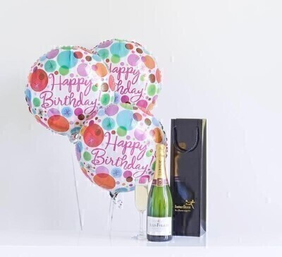 THIS PRODUCT CONTAINS ALCOHOL AND AS SUCH SHOULD ONLY BE BOUGHT FOR SOMEONE OVER THE AGE OF 18 Birthday balloons is just right for getting the party started. We have chosen a bottle of bubbly with plenty of fizz and lots of flavour the perfect gift to toast their special day in style. Featuring 3 Happy Birthday helium balloons and a bottle of Louis Rozier champagne presented in an gift bag.