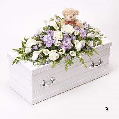 Blue Children's Casket Spray with Teddy Bear | Funeral Flowers