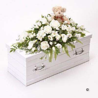 White Children's Casket Spray with Teddy Bear | Funeral Flowers