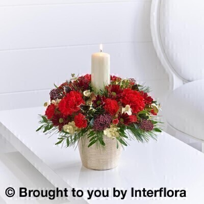 Christmas Charm Candle Arrangement: Booker Flowers and Gifts