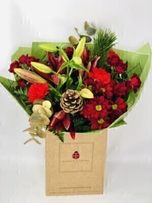 Festive Flowers in WaterHand arranged by our florists in a box to form a luxury presentation bouquetTo give you the best occasionally we may make substitutesOur flowers backed by our 7 days freshness guaranteeApproximate dimensions 50x40cmThis product is available for UK delivery 9th - 24th DecemberThis festive bouquet of flowers in red and gold is a delightful choice for a Christmas gift or December Birthday.Featuring 3 red carnations 1 red asiatic lily 2 red spray chrysanthemums 2 red spray roses gold eucalyptus scots pine and 2 pinecones hand arranged with mixed foliage and presented in eco-friendly gift wrap and eco-friendly presentation box. Plus all our bouquets and plants have a small wooden ladybird hidden in somewhere so dont forget to spot the ladybird on our social media pages!Liverpool Flower DeliveryWe offer advanced booking flower delivery same day flower delivery 3 hour Flower delivery guaranteed AM PM or Evening Flower Delivery and we are now offering Sunday Flower Delivery.The best florist in LiverpoolCome to Booker Flowers and Gifts Liverpool for your Beautiful Flowers and Plants if you really want to spoil we also have a great range of Local Gin Wines Champagne Balloons Vases and Chocolates that can be delivered with your flowers. To see the full range see our extras section. You can trust Booker Flowers and Gifts can deliver the very best for you.