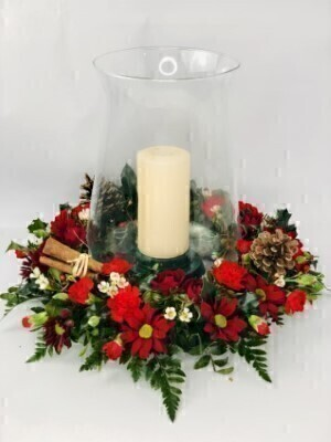 Christmas Hurricane Vase Table Arrangement: Booker Flowers and Gifts
