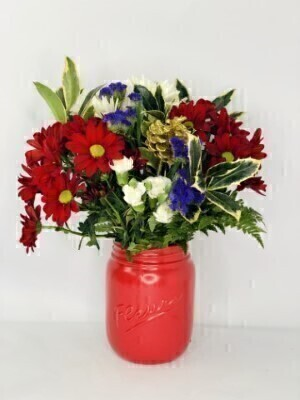 Christmas Red Jar of Flowers: Booker Flowers and Gifts