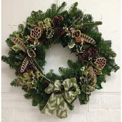 Christmas XL Deluxe Real Wreath for Door - Pheasant Feathers: Booker Flowers and Gifts