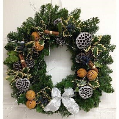 Christmas XL Real Wreath for Door - Blue and Orange: Booker Flowers and Gifts