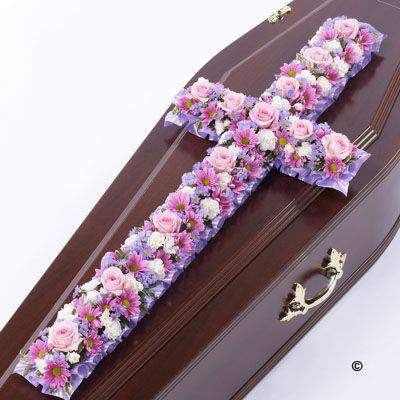 Large Pink and Lilac Classic Cross-Shaped Design | Funeral Flowers