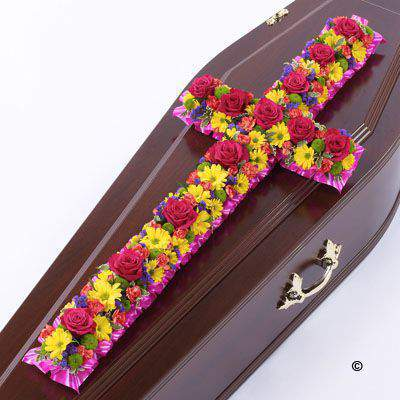 Large Vibrant Classic Cross-Shaped Design | Funeral Flowers