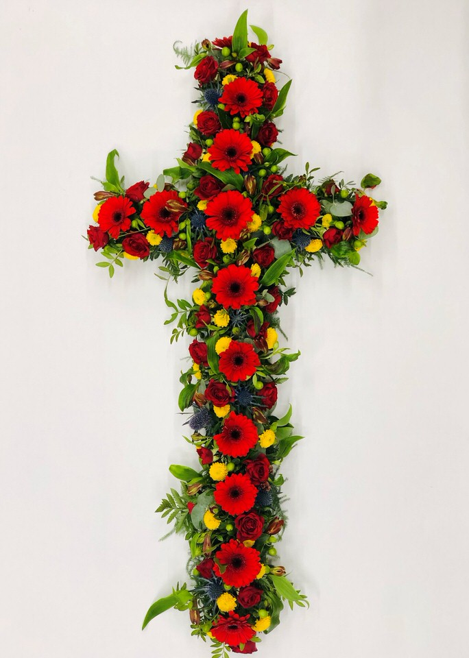 Large Classic Cross-Shaped Design | Funeral Flowers