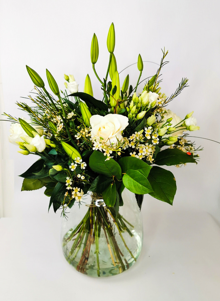 Classic White Rose and Lily Vase: Booker Flowers and Gifts