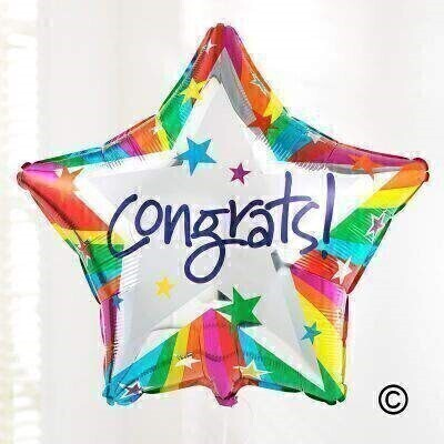 Add some colour to their celebrations with this star shaped helium balloon. This design features a burst of rainbow colours and a silver star with a andlsquo;Congrats!andrsquo; motif in the centre.The 50cm micro-foil balloon arrives filled with helium and tied to a weight with a curling ribbon.