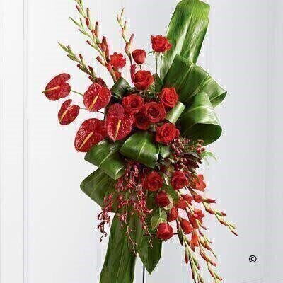 This dramatic standing spray is a real expression of feeling. Brilliant red roses - gladioli - anthurium - aranthera orchids and hypericum berries create an exquisite arrangement offset by bright green folded ti and aspidistra leaves. Displayed on a wire eas