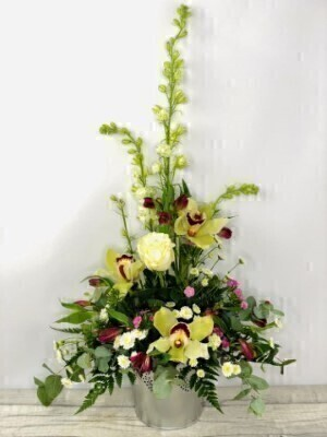 Cymbidium Orchid Summer Pot Arrangement: Booker Flowers and Gifts