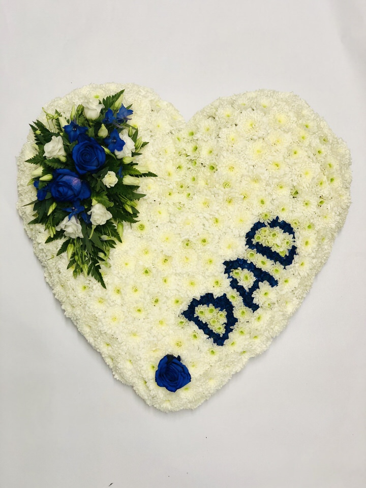 DAD White Heart Funeral Tribute: Booker Flowers and Gifts