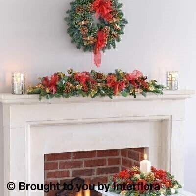 Flowers Delivered Liverpool<br><br>Table Centrepiece featuring red carnations a red spray chrysanthemum a burgundy skimmia spray red spray carnations blue spruce gold eucalyptus holly metallic gold glittered pine cone picks and a long-burning wax candle.<br><br>Wreath featuring spruce holly moss natural cones and cinnamon bundles.<br><br>3 ft Garland featuring green eucalyptus gold eucalyptus blue spruce variegated holly cinnamon bundles and natural cones<br><br>We offer advanced booking flower delivery same day flower delivery 3 hour Flower delivery guaranteed AM PM or Evening Flower Delivery and we are now offering Sunday Flower Delivery.<br><br>These products are hand made by professionals To give the best occasionally we may make substitutes Our flowers backed by our 7 days freshness guaranteeThis product is available for delivery throughout the UK <br><br>The best florist in Liverpool<br><br>Come to Booker Flowers and Gifts Liverpool for your Beautiful Flowers and Plants if you really want to spoil we also have a great range of Wines Champagne Balloons Vases and Chocolates that can be delivered with your flowers. To see the full range see our extras section. You can trust Booker Flowers and Gifts can deliver the very best for you