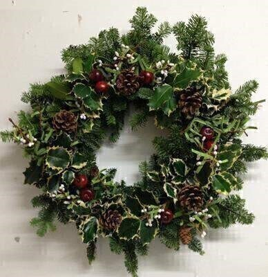 Deluxe Christmas Holly Wreath - Natural No Bow: Booker Flowers and Gifts